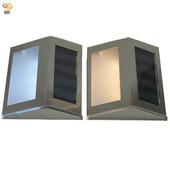 《月陽》不鏽鋼太陽能自動光控3LED台階燈璧燈庭園燈超值2入(ST1082)(黃光LED燈)