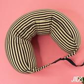 《韓版》日式簡約條紋風連帽微粒子U型護頸枕 70cmX15cm(2入)(咖啡棕x2)