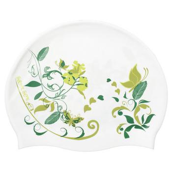《SAIN SOU》印花矽膠泳帽-A35416(14-白綠色)