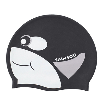 《SAIN SOU》兒童專用印花矽膠泳帽-A35410(01-黑色)