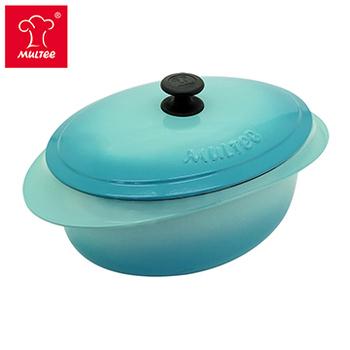 《摩堤MULTEE》饗宴系列-32cm鑄鐵橢圓鍋(綠松漸層,內霧緞黑)