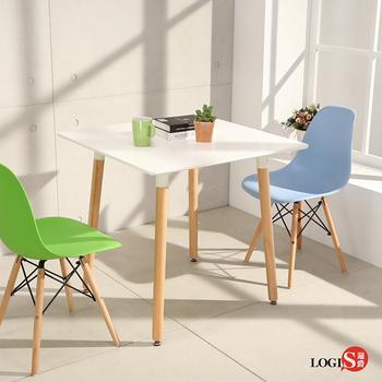 LOGIS邏爵- 自然簡約北歐寬80cm方形桌 方桌 工作桌 書桌 休閒桌  T8080(白)