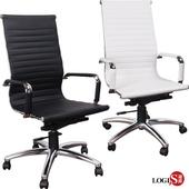 《LOGIS》安菲米高背型皮椅洽談椅 辦公椅 事務椅 椅子 兩色 PA20(黑-高背鋁腳)