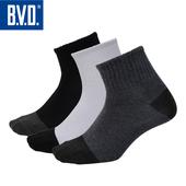《BVD》雙效抗菌除臭1/2健康男襪(加大)5雙組-B384(黑*5雙)