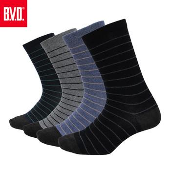 《BVD》竹炭細條紋男襪5雙組(黑*5雙)