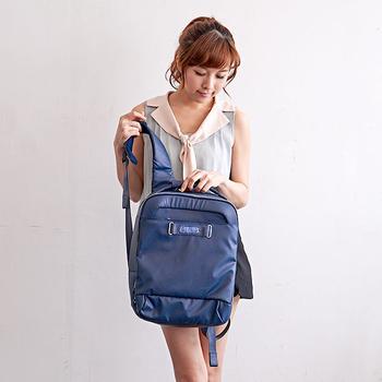 《ALAIN DELON 亞蘭德倫》防潑水帆布電腦後背包(藍)