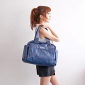 《ALAIN DELON 亞蘭德倫》防潑水帆布休閒 手提側背包(藍)