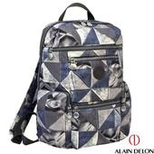《ALAIN DELON 亞蘭德倫》金屬幾何工業風LOGO 後背包(幾何藍)