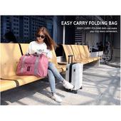 《TD》韓版 多功能折疊旅行收納袋 手提袋 單肩旅行袋 拉桿包 折疊旅行袋 摺疊包(深藍色)