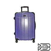 《BATOLON寶龍》【24吋】時尚髮絲紋TSA鎖PC硬殼箱/行李箱/旅行箱(典雅藍)