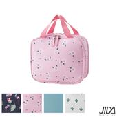 《韓版》290D雙面斜紋防水雙層化妝包/盥洗包(附化妝鏡)(海棠花)