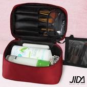 《韓版》網美款 加大款防水手提化妝包-可收刷具(酒紅色)