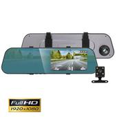 《IS愛思》RV-15XW 4.1吋觸控螢幕2.5D圓角後視鏡雙鏡頭行車紀錄器