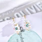粉藍系列珍珠耳環