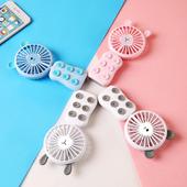 吸盤式USB小風扇 11x11x3cm(粉色)
