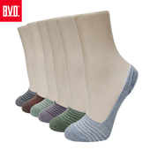 《BVD》簡約條紋休閒女襪套5雙組-B248(暗紅*5雙)