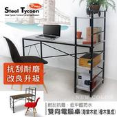 《鋼鐵力士》雙向層架式電腦桌 (抗刮耐磨/兩色可選)(海棠淺木紋)