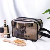 《韓版》360°耐磨防水厚款半透明盥洗包/化妝包(中 )26x15cm(白色)