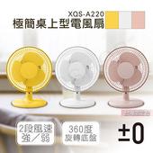 《日本正負零±0》極簡桌上型電風扇 XQS-A220 三色可選(粉色)