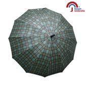 【Kasan晴雨傘】大傘面12K銀格自動直傘(黃綠格)