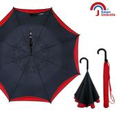 【Kasan晴雨傘】超潑水自動開防風反向雨傘(爵士黑)