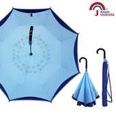 【Kasan晴雨傘】超潑水自動開防風反向雨傘(水漾藍)