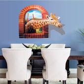 3D穿牆長頸鹿壁貼60x90cm