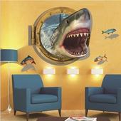 3D鯊魚壁貼