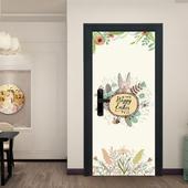 北歐溫暖花卉兔創意門貼