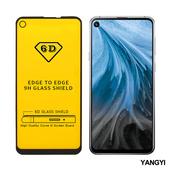 《YANGYI揚邑》Samsung Galaxy A8s 全膠滿版二次強化9H鋼化玻璃膜6D防爆保護貼-黑(6D滿版)