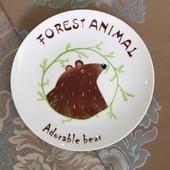 北歐8吋創意插畫動物餐盤棕熊