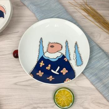 北歐創意塗鴉8吋餐盤(十字紋河馬)
