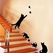 貓咪創意樓梯壁貼