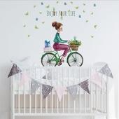 自行車少女手繪壁貼