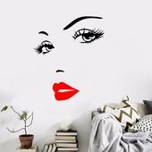 時尚女性紅脣精雕壁貼