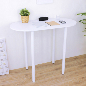 《頂堅》[防潮書桌]深60x寬120x高98/公分(PVC防潮材質)橢圓形吧台桌/高腳桌/餐桌/洽談桌(二色可選)(素雅白色)
