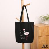 《JIDA》簡約文青肩背水洗帆布包(黑色火烈鳥)