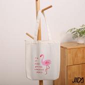 《JIDA》簡約文青肩背水洗帆布包(白色火烈鳥)