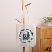 《JIDA》簡約文青肩背水洗帆布包(藏青莎士比亞)