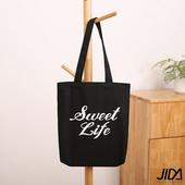 《JIDA》簡約文青肩背水洗帆布包(字母-SWEET LIFE)