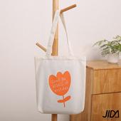 《JIDA》簡約文青肩背水洗帆布包(橙色鬱金香)