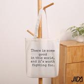 《JIDA》簡約文青肩背水洗帆布包(白色字母)