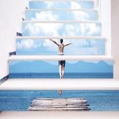 跳水的少年3D樓梯貼-18x100cm