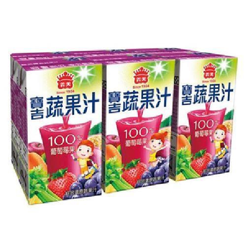 義美 寶吉蔬果汁 葡萄莓果(250ml*6罐/組)