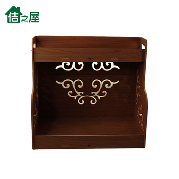 《佶之屋》5mmPVC木塑二層廚房落地收納/置物架(深木紋)