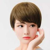 《幸福揚邑》女斜瀏海短直髮美拍直播造型必備整頂假髮(深棕色)
