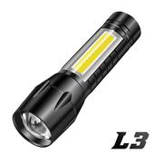 《FJ》迷你變焦鋁合金強光COB手電筒L3(家中/登山必備)(黑色)