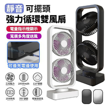 《FJ》靜音可擺頭強力循環雙頭USB風扇FAN2(風罩可拆設計)(黑色)