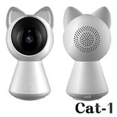 《Uta》萌貓造型1080P無線網路旋轉監視器Cat1(升級版)(白色)