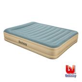 《Bestway》Queen雙人耐用款新布面AC自動充氣床-藍米 69008E